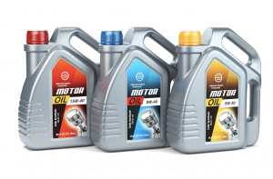 Motor oil in different containers on display.