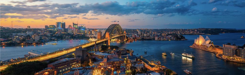 Sydney in the evening lights.