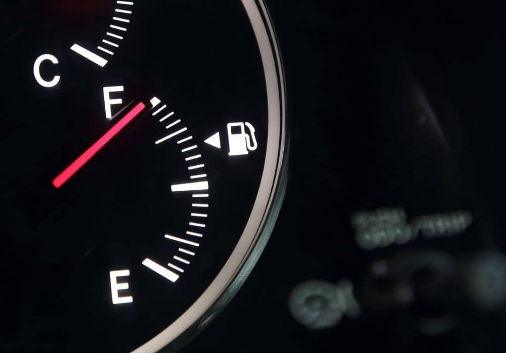 Fuel gauge showing full tank.