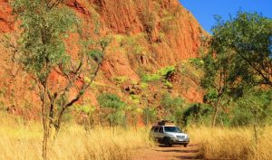Outback driving remote area.